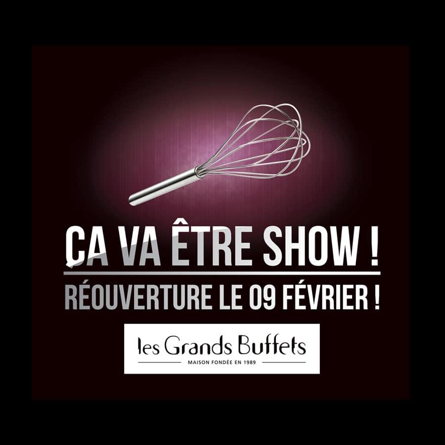 Les Grands Buffets - campagne de communication - DEFACTO agence de communication à Narbonne