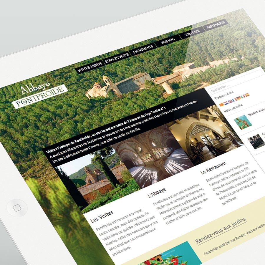 Abbaye de Fontfroide -site internet responsive design - DEFACTO agence de communication à Narbonne