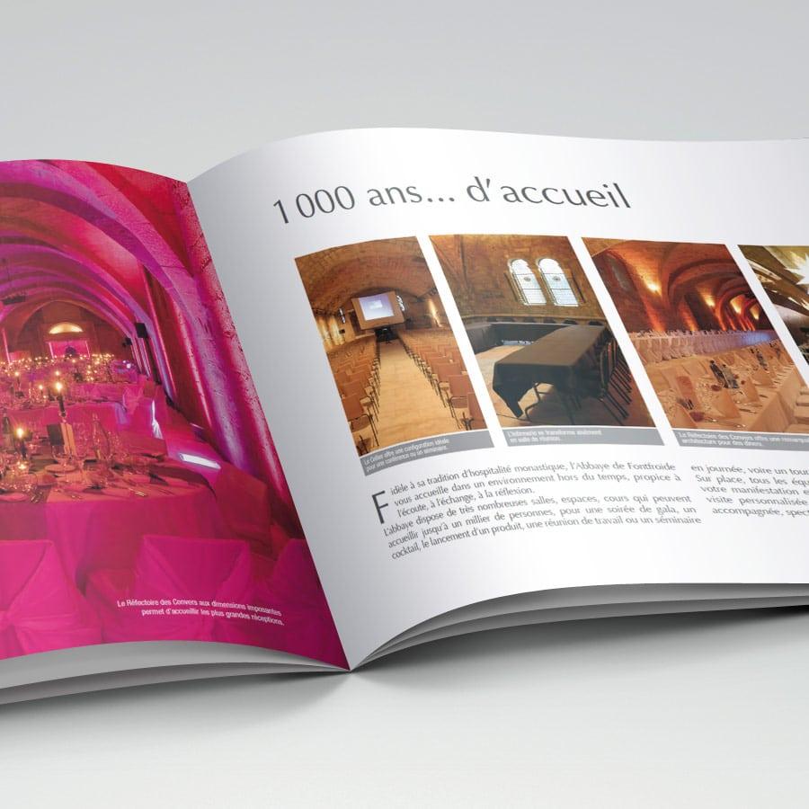 Abbaye de Fontfroide - plaquette et édition - DEFACTO agence de communication à Narbonne