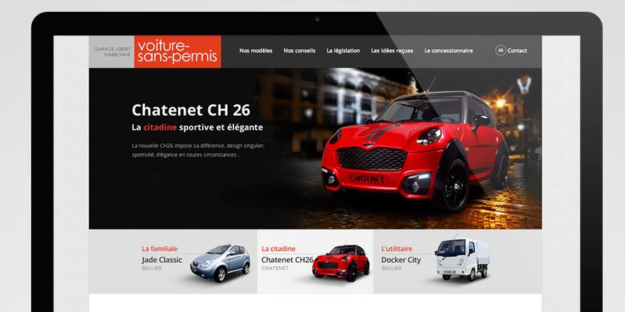 voiture sans permis - site responsive design tablette et smartphone - agence de communication DEFACTO à Narbonne