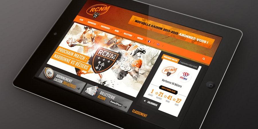 site du rcnm - version tablette réalisé par Defacto avence de communication à Narbonne