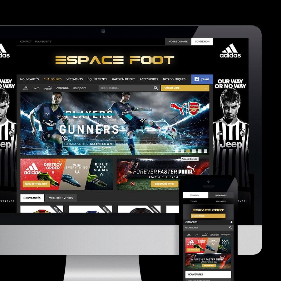 Espace Foot site internet réalisé par Defacto à Narbonne