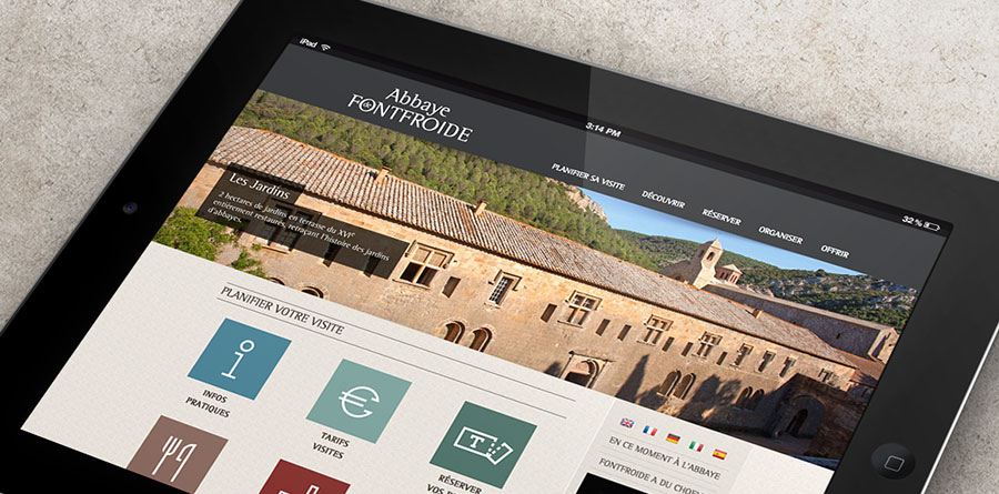 Abbaye Fontfroide - réalisation site responsive-design agence de communication Narbonne