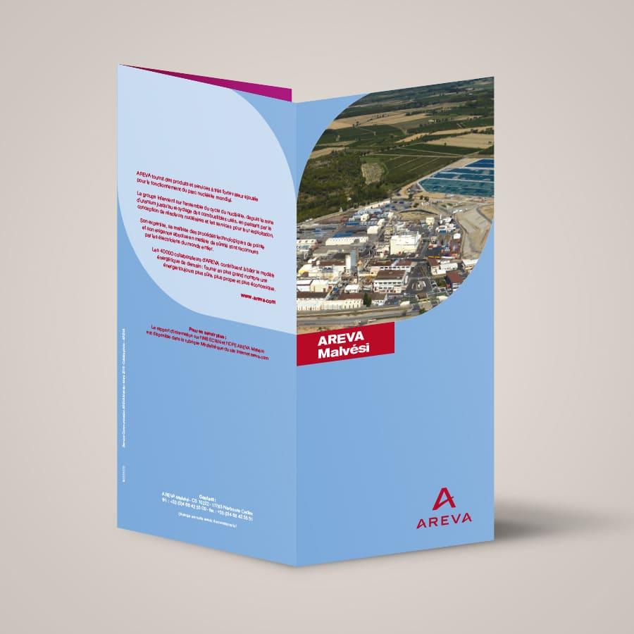 Defacto agence de communication Narbonne - AREVA Malvési - Edition de dépliant