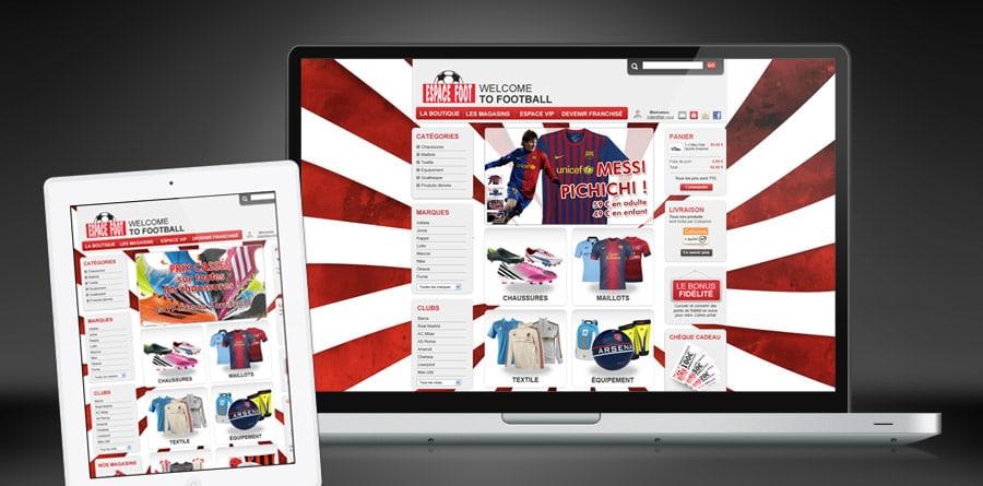 Espace Foot - site internet - DEFACTO agence de communication à Narbonne
