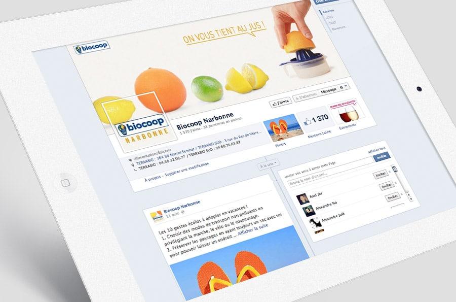 Biocoop Terrabio - Facebook et réseaux sociaux - DEFACTO agence de communication à Narbonne