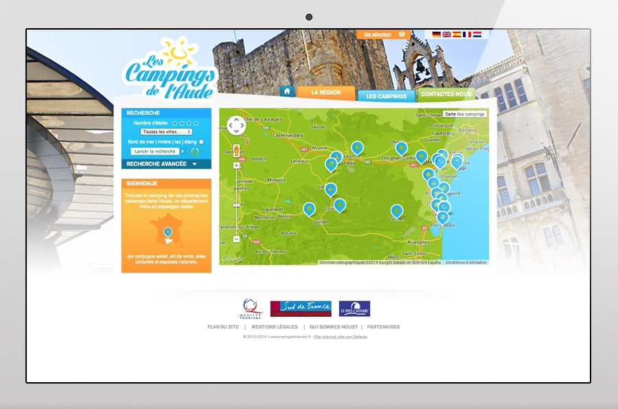 Camping de l'aude - site internet responsive design - DEFACTO agence de communication à Narbonne