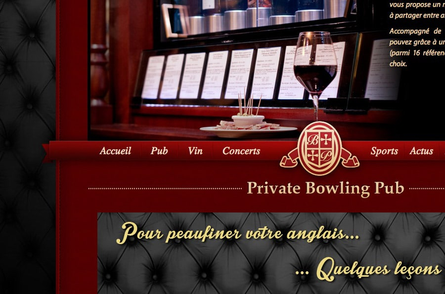 Private Bowling Pub - site internet - DEFACTO agence de communication à Narbonne