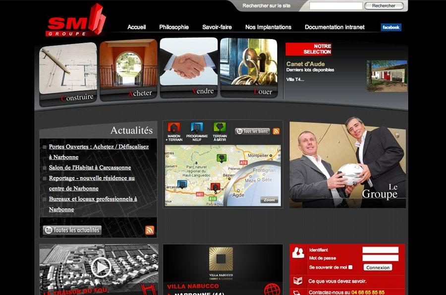 Groupe SM - site internet - DEFACTO agence de communication à Narbonne