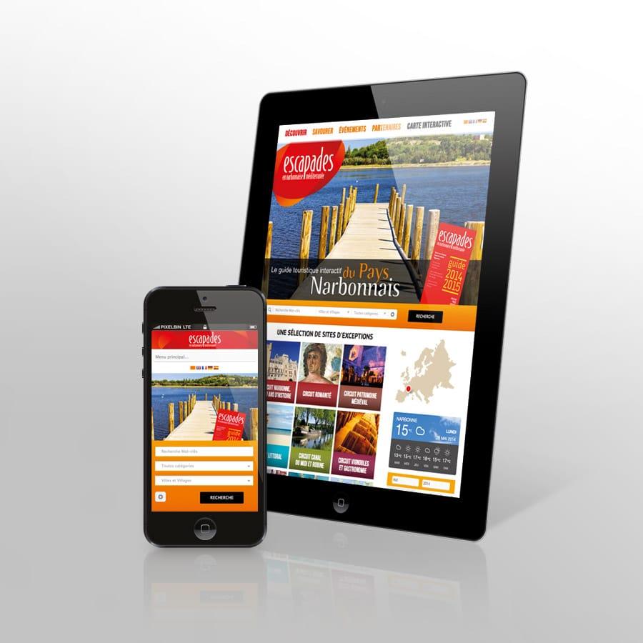 Escapade en Pays Narbonnais - responsive design tablette et smartphone - agence de communication DEFACTO à Narbonne