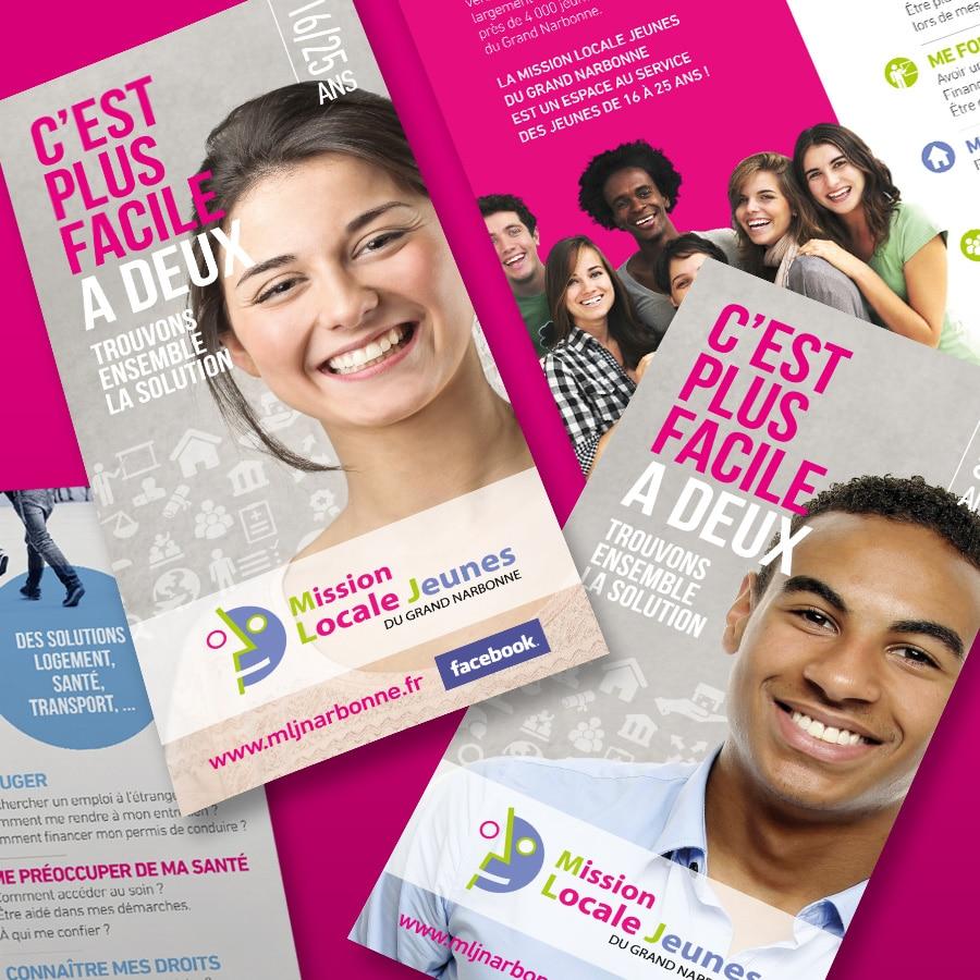Mission Locale - dépliant et édition - DEFACTO agence de communication à narbonne