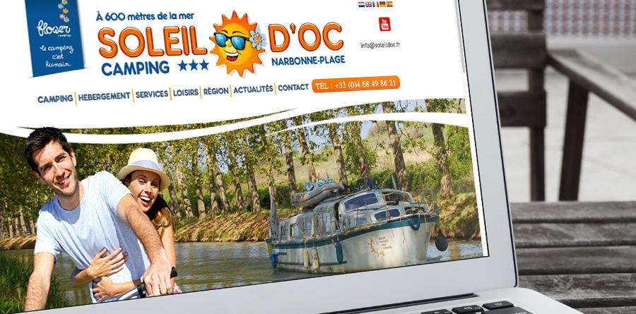 Camping Soleil d'Oc - site internet réalisé par Defacto agence de communication à Narbonne