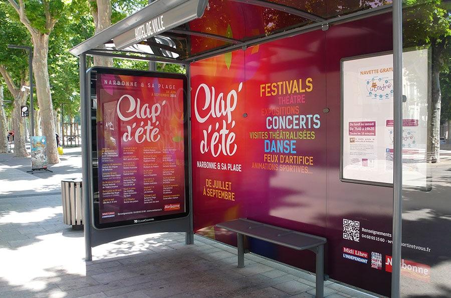 Clap d'été - édition - Mairie de Narbonne - Abris-bus - Defacto agence de communication - Narbonne