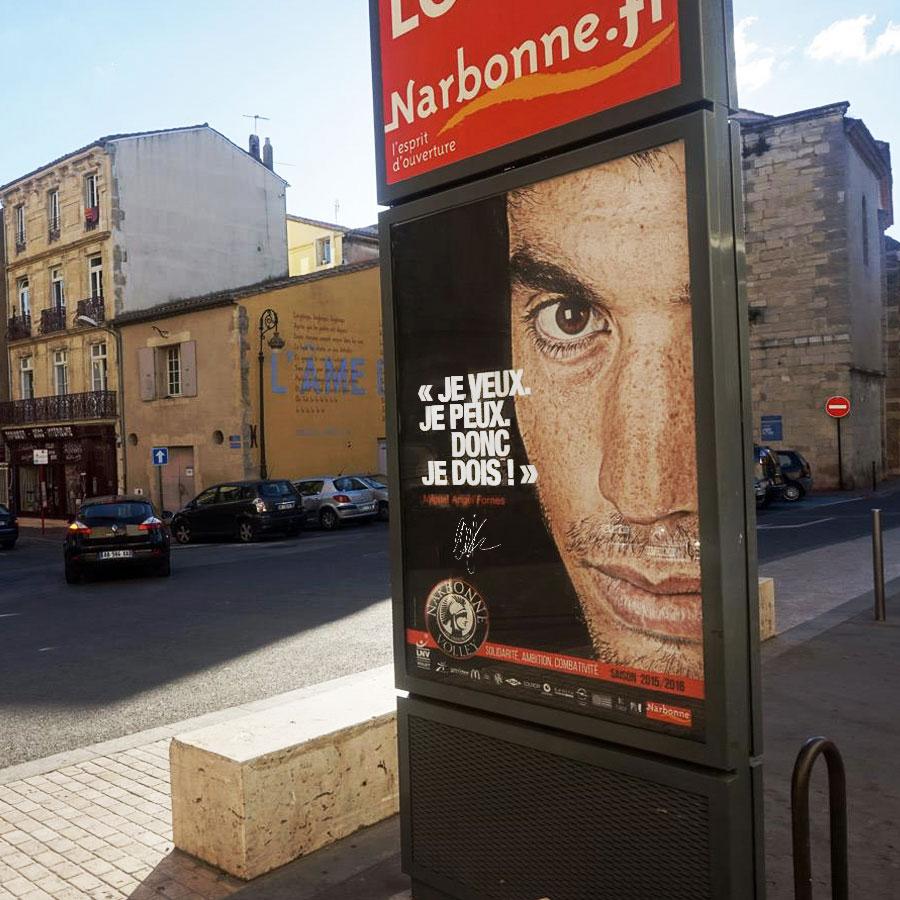 Narbonne Volley - Defacto à Narbonne - campagne d'affichage - Sucette