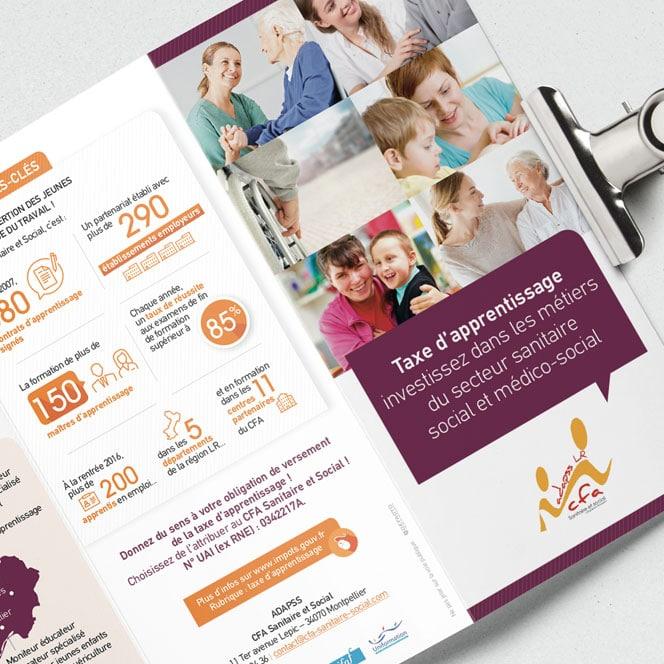 CFA sanitaire et social – Dépliant et brochure