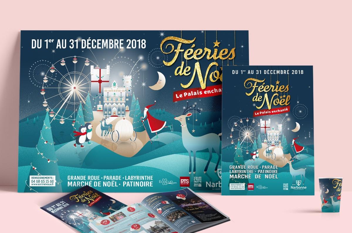 DEFACTO - Féeries de noël flyers, brochures, affiches et ecocup